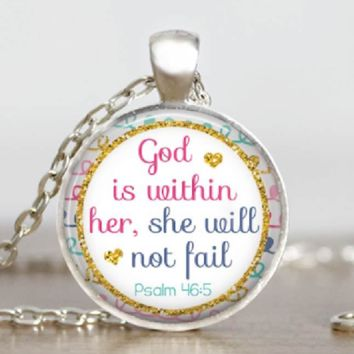 Proverbs 46:5 Womens Scripture Necklace Religious Verse Glass Tile Pendant