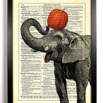 Elephant With Pumpkin Repurposed Book Upcycled Dictionary Art Vintage Book Print Recycled Vintage Dictionary Page Buy 2 Get 1 FREE