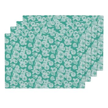 White Shells on Teal Placemats by noondaydesign | Roostery Home Decor