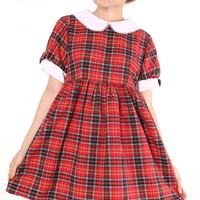 Glitters For Dinner — Made To Order - Annabelle Dolly Dress in Red Tartan