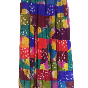 Tie dye skirt, Long Skirt, Multicolor Bandhani chiffon Maxi Skirt, Bollywood Skirt, Ethnic Skirt
