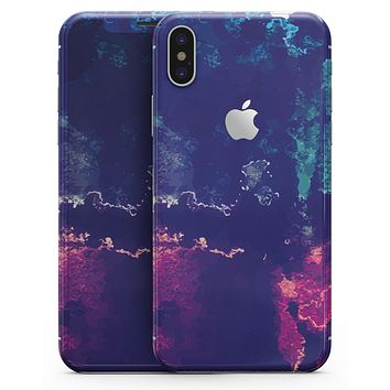 Blue & Purple Grunge - iPhone X Skin-Kit