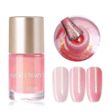 NICOLE DIARY 9ml Pearl Mermaid Nail Polish Water Based Glitter Shimmer Manicure Varnish Shinny Nail Art Lacquer Thinner Vernis