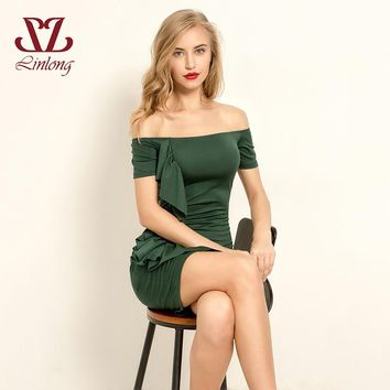 LINLONG Summer Women Bodycon backless mini party dress Ruffles Sexy elegant Off Shoulder Wrap Dress 2018 Autumn green B001