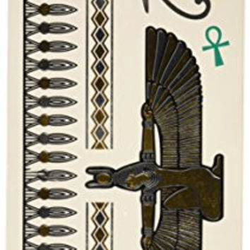 Wrapables Medium Metallic Gold and Silver Temporary Tattoo Stickers, Isis Goddess