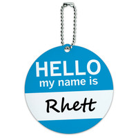 Rhett Hello My Name Is Round ID Card Luggage Tag
