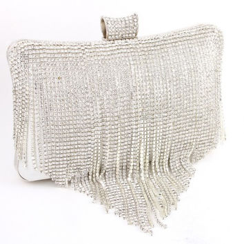 Crystal Fringe Clutch Bag