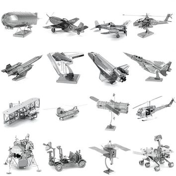 Aviation Silver 3D Metal Puzzle Helicopter Airplane Apollo Space Shuttle Fighter Mars Rover Model Adult Kid Educational Toy