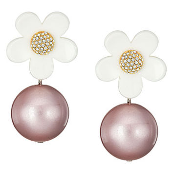 Marc Jacobs Strass Daisy Pearl Statement Drops Earrings