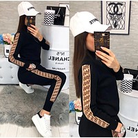 FENDI Trending Women Casual Stylish F Letter Long Sleeve Top Pants Set Two-Piece Black