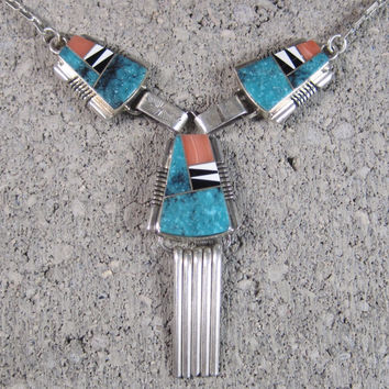 Vintage Navajo Inlay Turquoise Necklace John Charley