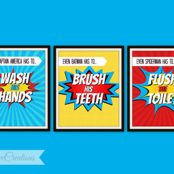 SUPERHEROS BATHROOM Prints // Superhero Pop Art // Instant Download // PRINTABLE 8x10 //Kids Wall Art // Superhero Bathroom Wall Art