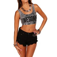 Gray Mineral Wash Crop Top