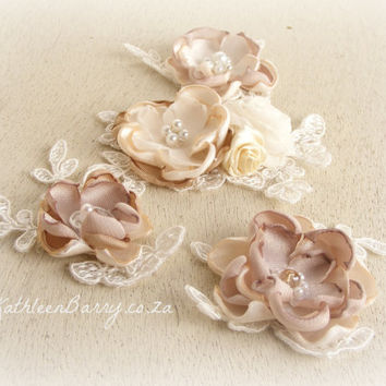 R550 wedding dress motifs set of four - ivory champagne and taupe
