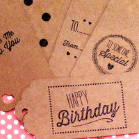 Gift Tags, Brown Gift Tags, Brown Card Gift Tags, Kraft Paper Gift Tags, Gift Wrap, Retro Gift Tags, Large Tags, Birthdays, Set of 10
