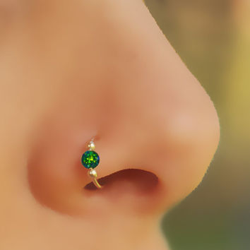 FAKE NOSE RING, Fake Piercing, Fake Ring Nose, Gold filled, Dark Green Opal, Opal Nose Ring
