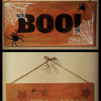 Two Sided Reversible Halloween and Thanksgiving Wooden Painted Sign