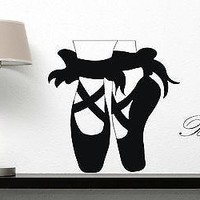 Wall Sticker Vinyl Decal Ballet Pointe Shoes Slim Legs Bows Dance Unique Gift (n296)
