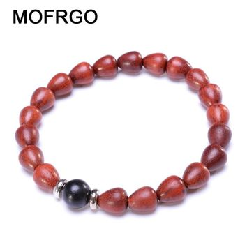MOFRGO Simple Wood Bead Yoga Bracelet For Women Natural Red Sandalwood Beads And Tibetan Silver Chinese Style Meditation Jewelry
