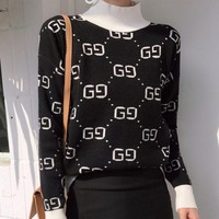 ONETOW Gucci Fashion Casual Women Long Sleeve Double G Pullover Sweater G
