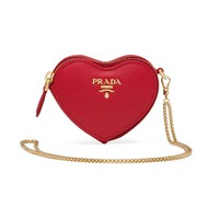 Mini Heart Bag and Gold Logo Plaque by Prada