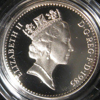 1985 Great Britain Elizabeth II Sterling Silver British Silver Pound Proof Coin Welch Leek 50,000 Minted