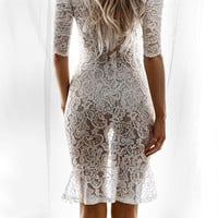 Lace Hollow Round Neck Mini Dress