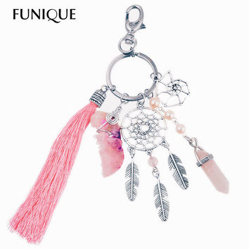 Vintage Bohemian Silver Keychain Natural Quartz Stone Natural Stone Key Ring Women Dream Catcher tassels Feather Key Chains