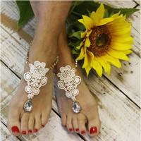 FOREVER LACE barefoot sandals - ivory