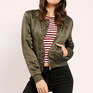 Padded Satin Bomber Jacket