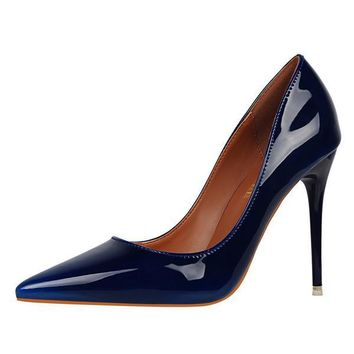 High Heels Patent Leather Royal Blue Female Shoes