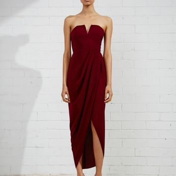 CORE 'V' BUSTIER DRAPED DRESS - BURGUNDY
