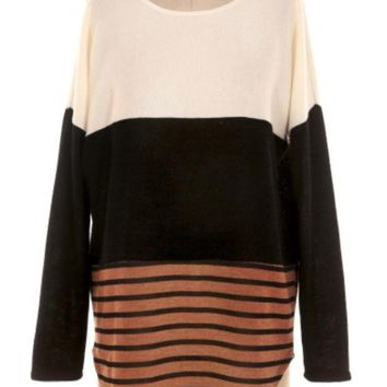 DCCKAB3 Miss Duet Multi Color Block Sweater Tunic