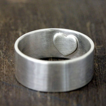 Mens wedding ring secret heart