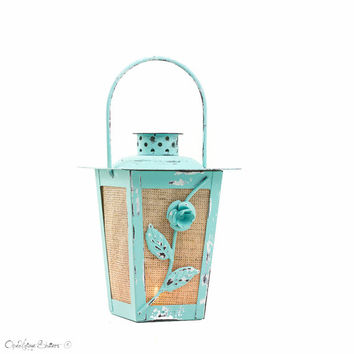 Turquoise Wedding Candle Lantern Centerpiece, Shabby Chic Hanging Lantern, Dorm Decor, Metal Candle Holder