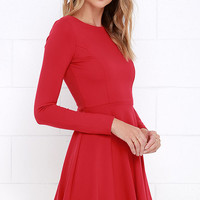 Forever Chic Red Long Sleeve Dress