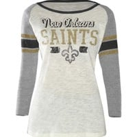G-III Women's New Orleans Saints White Raglan Shirt - Dick's Sporting Goods