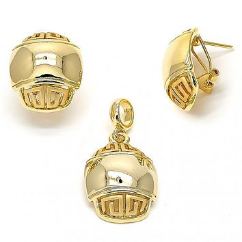 Gold Layered 10.59.0192 Earring and Pendant Adult Set, Greek Key Design, Polished Finish, Gold Tone