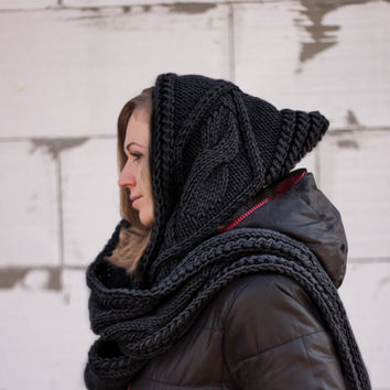 Hooded Scarf. Long Scarf. Wool Scarf. Long black scarf hooded, wool scarf, chunky hooded scarf, scoodie scarf  LoveKnittings