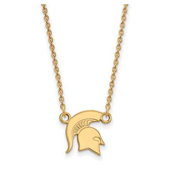 NCAA 10k Yellow Gold Michigan State Small Pendant Necklace