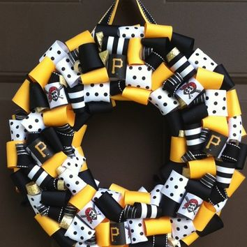 Pittsburgh Pirates Wreath Ribbon Buccos for Front Door MLB Go Bucs