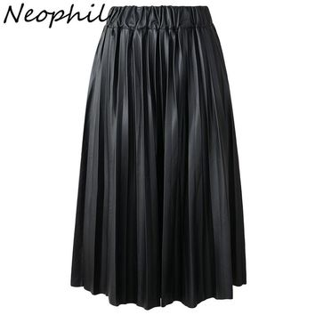 Neophil 2017 Winter Ladies Black PU Faux Leather Skirts Midi Pleated High Waist Vintage Basic Mid-calf Women Longa Saia S1927