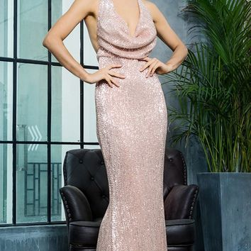 Know My Name Champagne Sequin Sleeveless Spaghetti Strap Backless Halter Draped Cowl Neck Mermaid Maxi Dress