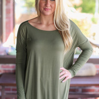 Long Sleeve Piko Top - Olive