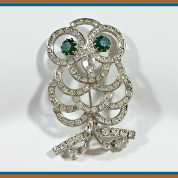 Vintage Rhinestone Owl Brooch Sparkling Clear Channel Set Prong Set Clear Rhinestones Green For The Eyes Wisdom Wise Sparkling Allure