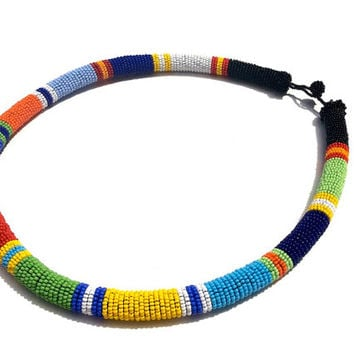 Multicolored Beaded Statement Necklace, Zulu Inspired Bead Wrapped Rope Necklace, African Art, African Inspired Beadwork Statement Necklace