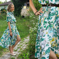 Botanical Chiffon Dress / Vintage JOBIS Printed, Collared, Button Down, Pleated Summer Dress LEMON GARDEN ----> Size M / 40