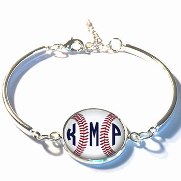 Baseball Monogram Bracelet, Monogram Bangle, Monogram Jewelry, Bridesmaid Gift, Personalized Bracelet - Style 511