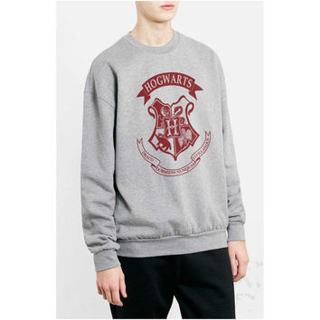 Hogwarts Maroon Crest printed on Light steel color Crew neck Sweatshirt