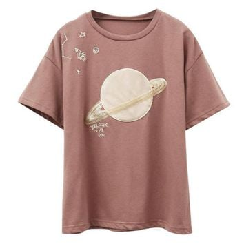 Saturn Embroidery Patchwork Cotton Tees